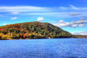 The beautiful Devils Lake State Park during the fall