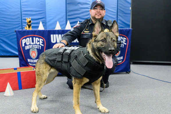 UW-Madison police department holds a celebration for police dog Maya's second birthday