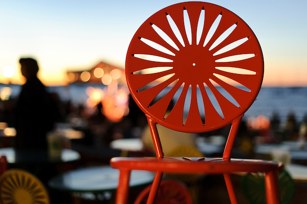 Memorial Union Terrace chair at sunset